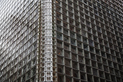 Facade of a wall with glass blocks; Tokyo, Japan - p442m1085020f by Alexander Macfarlane