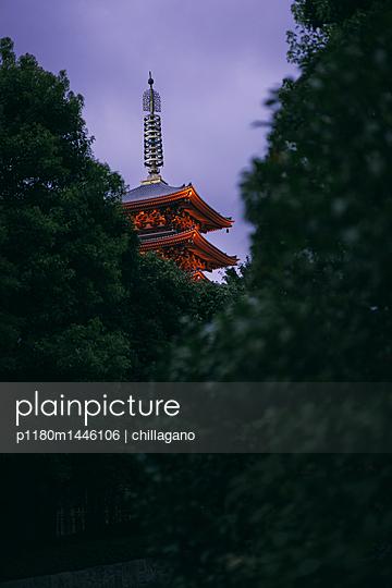 Pagode eines japanischen Tempels in Tokio bei Abenddämmerung - p1180m1446106 von chillagano