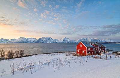 Pink sky at sunset on a wooden hut called Rorbu, frozen sea and snowy peaks, Djupvik, Lyngen Alps, Troms, Norway, Scandinavia, Europe - p871m1478730 by Roberto Moiola