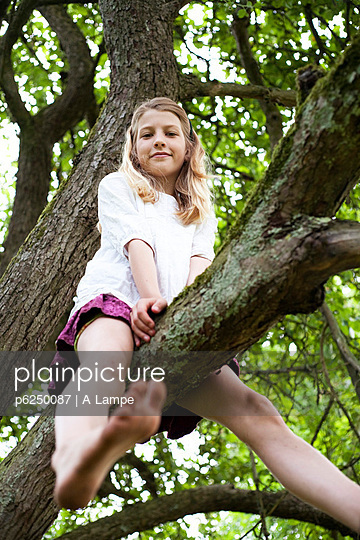 Girl sitting on a tree - p6250087 by A Lampe