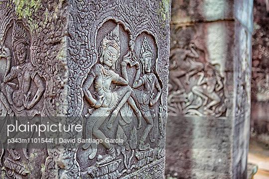 Detail of a sculpture in Prasat Bayon, Angkor Thorn, Siem Riep
