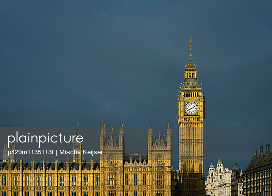 Storm clouds above Palace of Westminster and Big Ben, London, UK - p429m1135113f by Mischa Keijser