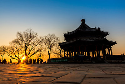 """""""Sunset over Kunming Lake and pavilion, The Summer Palace; Beijing, China"""" - p442m2016240 by Dosfotos"""