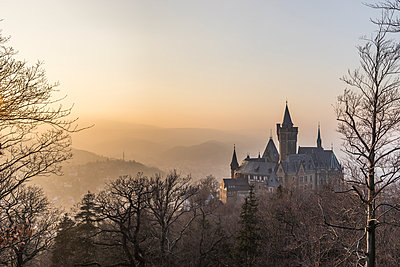 Germany, Saxony Anhalt, Wernigerode, castle and town in evening haze - p300m1017668 by Patrice von Collani