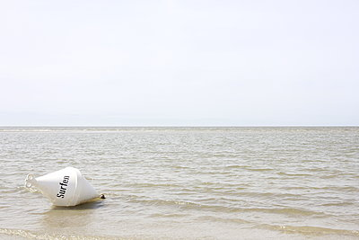Buoy in the mudflat when the tide is out - p1268m2107426 by Mastahkid