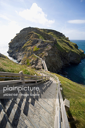 Tintagel castle in cornwall - p9244164f by Image Source