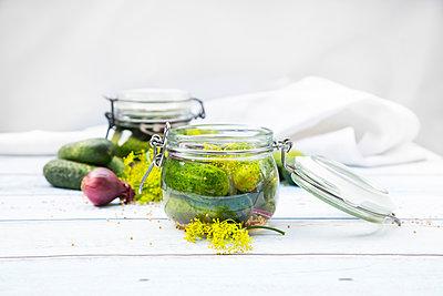 Preserving jar of gherkins and cucumbers - p300m1166607 by Larissa Veronesi