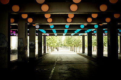 Ceiling lights in a tunnel - p445m1452460 by Marie Docher