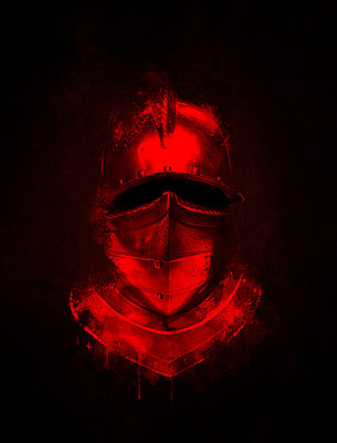 Medieval Knights helmet with blood - p1280m2173540 by Dave Wall