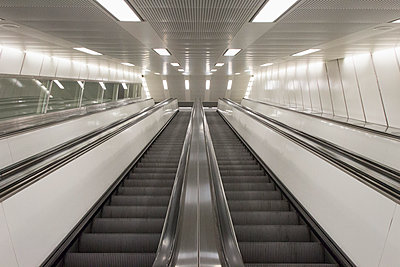 Two escalators side by side - p301m894599f by Norman Posselt