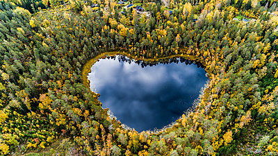 Heart-shaped lake surrounded by forest - p312m2091919 by Fredrik Schlyter