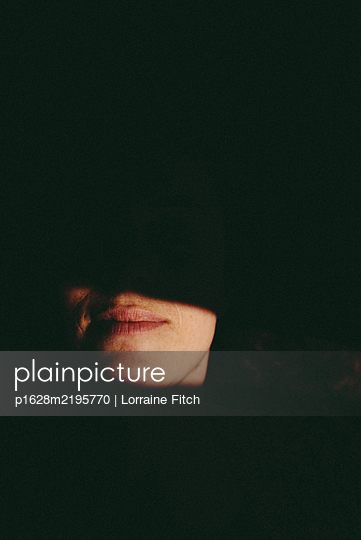 Woman Lips - p1628m2195770 by Lorraine Fitch