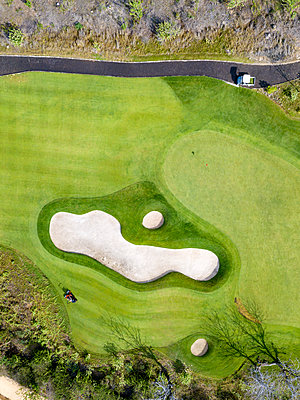 Indonesia, Bali, Aerial view of golf course - p300m2029887 by Konstantin Trubavin