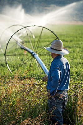 Caucasian farmer leaning on barbed wire fence watching irrigation - p555m1303714 by Steve Smith