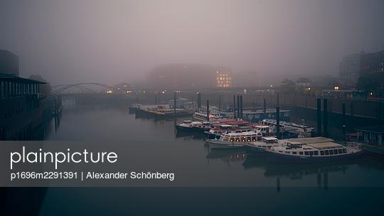 Hamburg Harbour in the dawn - p1696m2291391 by Alexander Schönberg