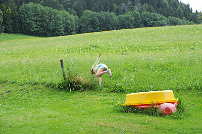 Child playing in the fields - p56710525 by Ilka Kramer