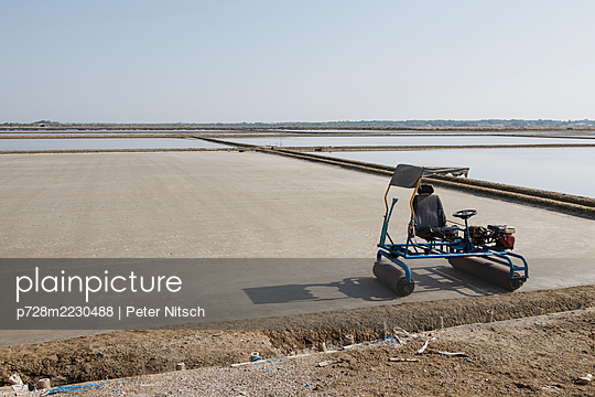 Thailand, Rolling machine used for smooth ground of salt field - p728m2230488 by Peter Nitsch