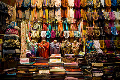 Scarves; Shalls and Pashminas at a bazaar in Istanbul Turkey - p5350249 by Michelle Gibson