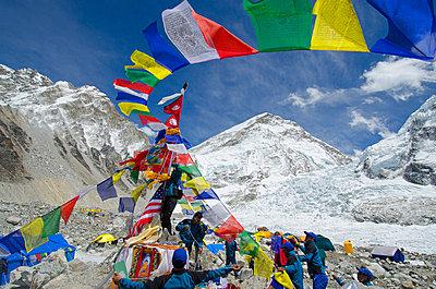 Asia, Nepal, Himalayas, Sagarmatha National Park, Solu Khumbu Everest Region, prayer flags at Everest Base Camp - p652m716823 by Christian Kober
