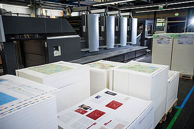 Pallets of finished printed products in paper printing warehouse - p429m884710f by Arno Masse