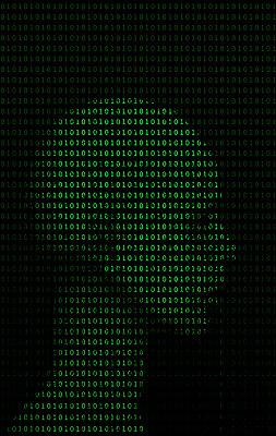 Binary code and anthropomorphic head - p1028m2007751 by Jean Marmeisse