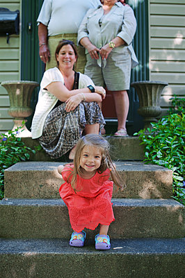 Mother, Grandparents, Daughter on Steps - p1169m1124094 by Tytia Habing