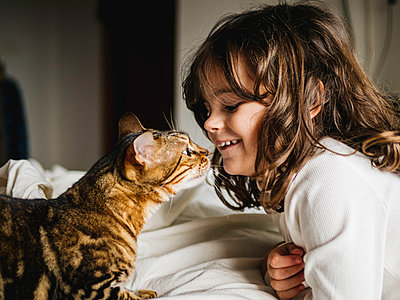 girl and cat play together face to face - p1522m2142652 by Almag