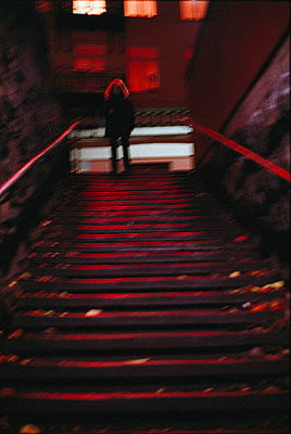 Stairs in the night Sweden - p5281228f by Pia Isaksson
