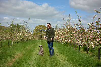 Woman and her dog in blossoming orchard, portrait - p429m2004464 by J J D
