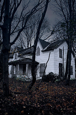 Scary derelict house in woods - p1072m829279 by Neville Mountford-Hoare