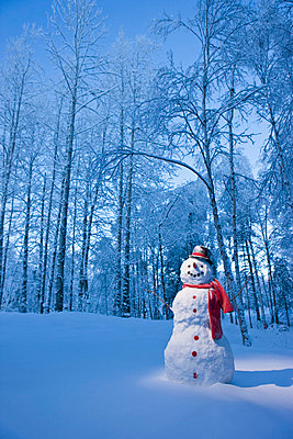 Snowman With Red Scarf And Black Top Hat Standing In Front Of Snow Covered Birch Forest, Winter - p442m838230 by Kevin Smith