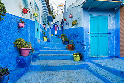 Morocco, Chefchaouen, Blue painted houses exteriors at a stairway - p1332m2204586 by Tamboly