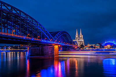Hohenzollern Bridge and Cologne Cathedral - p401m2013555 by Frank Baquet
