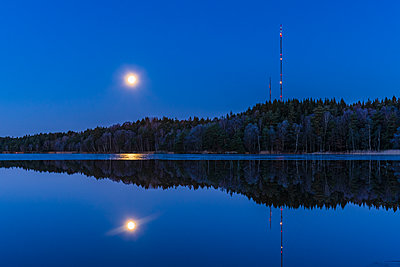 Moon rising over forest - p312m2079569 by Mikael Svensson