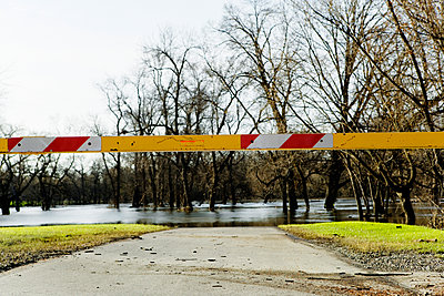 A barrier at roads end due to the flooding. - p343m1554681 by Ron Koeberer