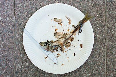 Germany, Hessen, Frankfurt, Remains of fish in dish, close up - p300m878928 by Frank Muckenheim