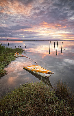 Old wood boat submerged in Aveiro's river - p1166m2152242 by Cavan Images