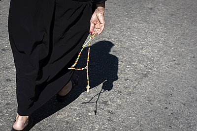 Lebanese Christian marching during a procession in the town of Annaya in northern Lebanon from the hermitage to the monastery of Saint Maroun. - p1403m2255758 by Godong