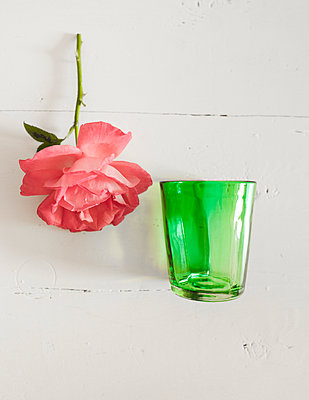 Rose mit grünem Glas - p1510m2030864 von Ingrid Amenda