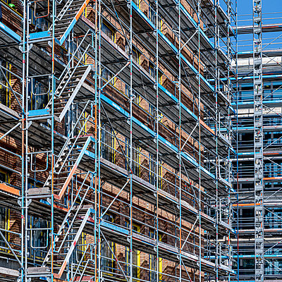 Shell facade with scaffolding - p401m2181749 by Frank Baquet