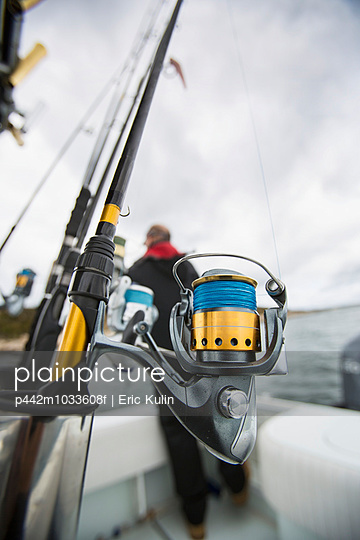 Fishing rods on a boat off the Atlantic coast; Maine, United States of America