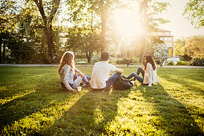 Teenagers sitting on grass at park - p426m1085567f by Maskot