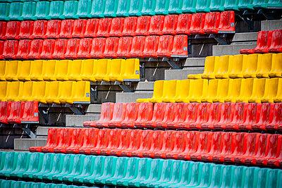 Deserted tribune in football stadium, Friedrich-Ludwig-Jahn-Sportpark - p1093m2193632 by Sven Hagolani