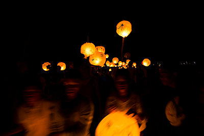 Lanterns at Night - p1655m2233663 by lindsay basson