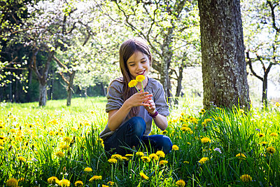 Portrait of girl picking dandelions on a meadow - p300m2188874 by Larissa Veronesi