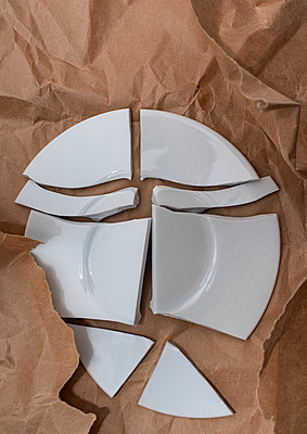 Broken porcelain plate - p971m2229874 by Reilika Landen