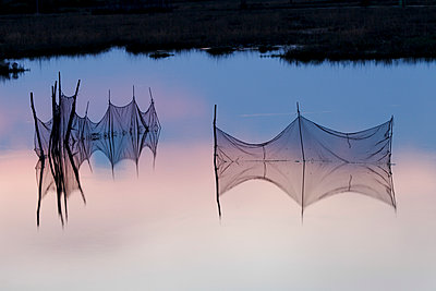 Fishing nets in the eastern lagoon of venice, Venice, Veneto, Italy. - p651m2033718 by Peter Fischer
