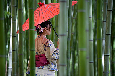 A woman wearing a kimono and standing in a bamboo grove - p30118412f by Sven Hagolani