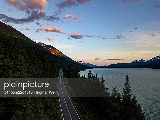 Alaska, Rural road beside a Fjord - p1455m2204513 by Ingmar Wein