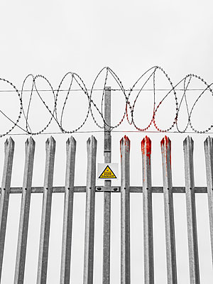 Razor Wire with blood - p1280m2056862 by Dave Wall